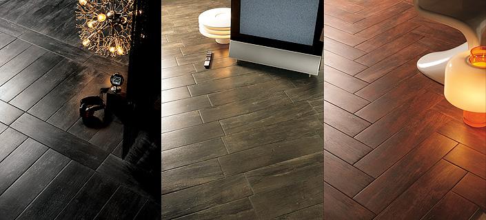 Dark wood ceramic tile